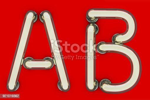 804846868 istock photo Neon tube letter on yellow background. 3D 921019362