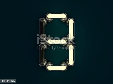 845307450 istock photo Neon tube number on dark background. 3D rendering 811844122