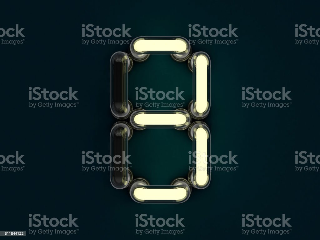 Neon tube number on dark background. 3D rendering stock photo