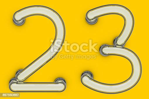 845307450 istock photo Neon tube number on yellow background. 3D 897560882
