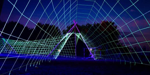 Neon tunnel stock photo