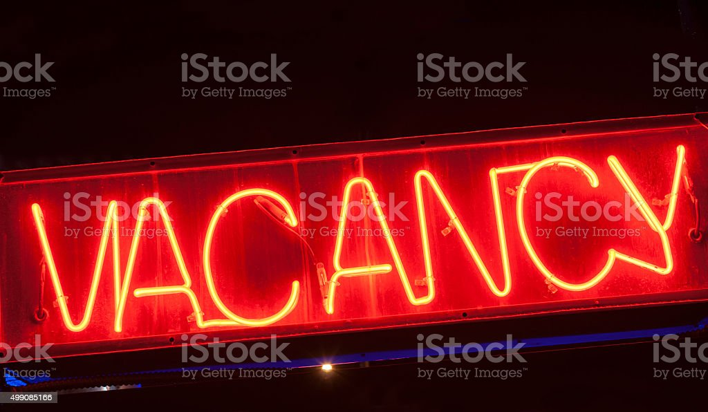 Neon vacancy sign for motel. stock photo