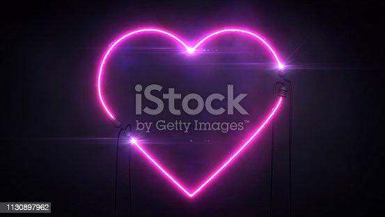 love and romance 3d illustration sign on black