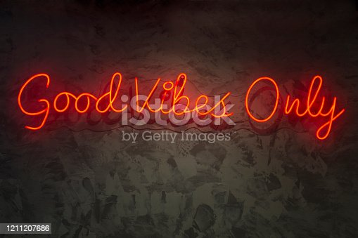 511875398 istock photo Neon with the word good vibes only. 1211207686