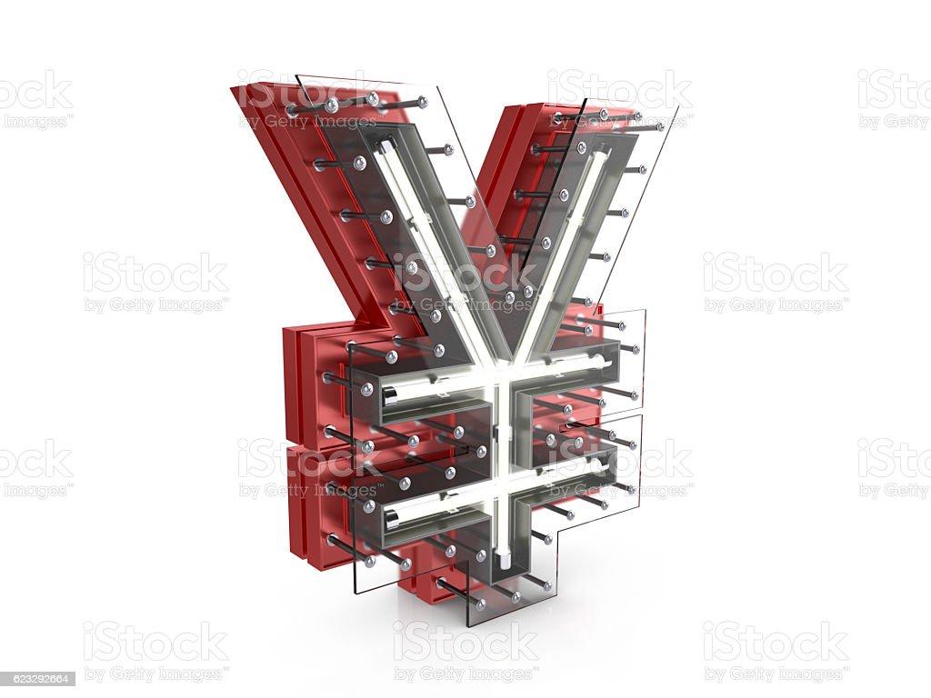 Neon yen symbol stock photo