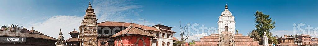 Nepal Buddhist temples ancient Hindu shrines Bhaktapur Kathmandu panorama Asia royalty-free stock photo