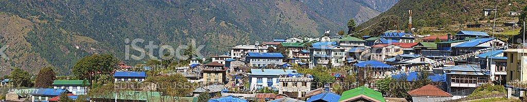 Nepal colourful teahouses Lukla Sherpa village Himalaya panorama royalty-free stock photo