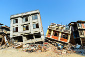 Aftermath of Nepal earthquake 2015, collapsed buildings in Kathmandu