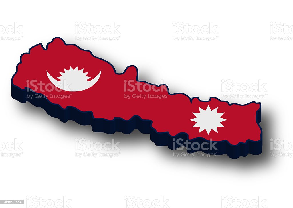 3d Nepal Flag Map Stock Photo & More Pictures of 2015 | iStock