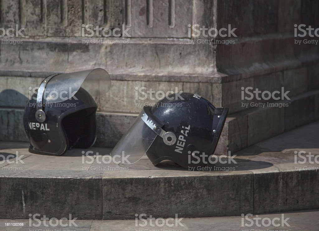 Nepal Police riot helmets stock photo