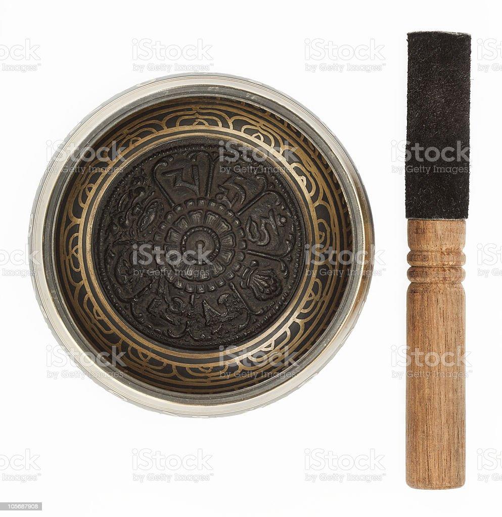 Nepal singing bowl isolated on white background royalty-free stock photo