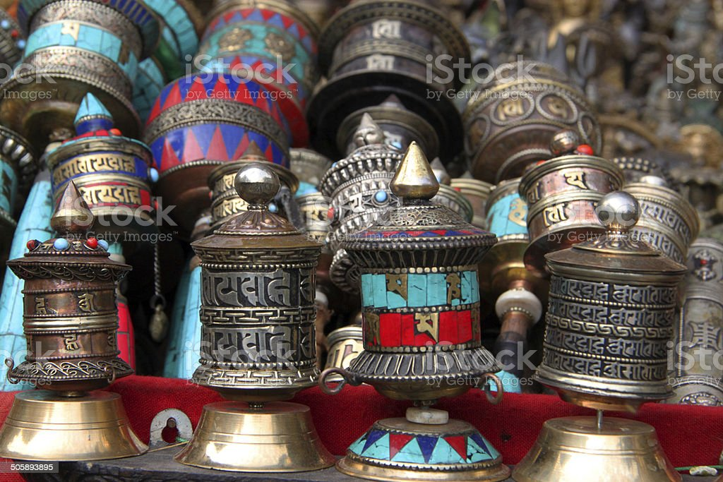 Nepal: Souvenirs at Swayambhunath Temple in Kathmandu stock photo
