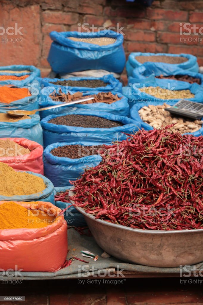 Nepal spice market stock photo