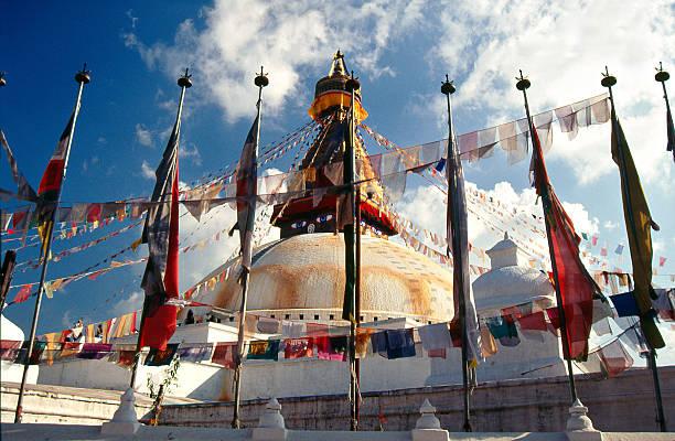 Nepal, Stupa Bodnath in Kathmandu valley. stock photo