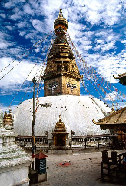 Nepal. Swayambhunath - the Buddhist temple in Kathmandu valley. stock photo