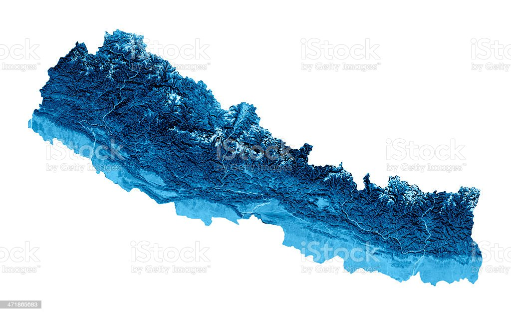 Nepal Topographic Map Isolated royalty-free stock photo
