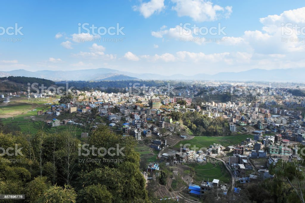 Nepal, view of Kathmandu from the Kapan monastery on a sunny day stock photo