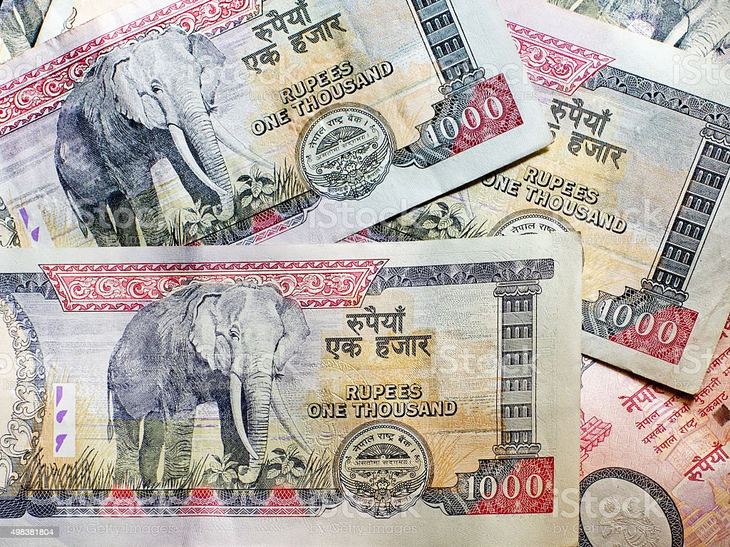 Nepalese banknotes 1000 Rupees. stock photo