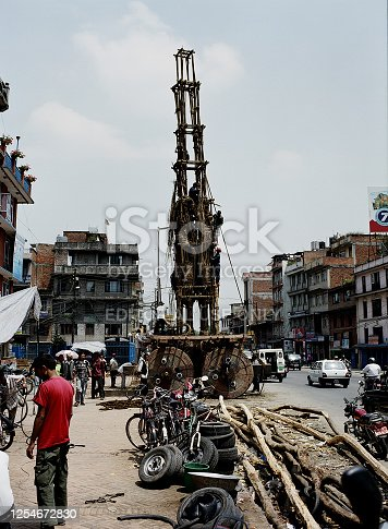 Kathmandu, Nepal - April 27, 2007: A daytime shot from a traditional ceremonial chariot in the streets of Kathmandu.