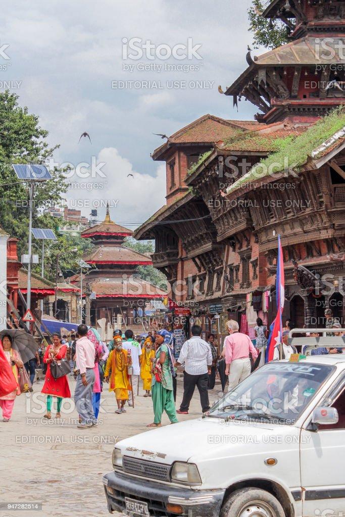 Nepalese people in Bhaktapur Durbar Square, Basantapur, Kathmandu, Nepal stock photo