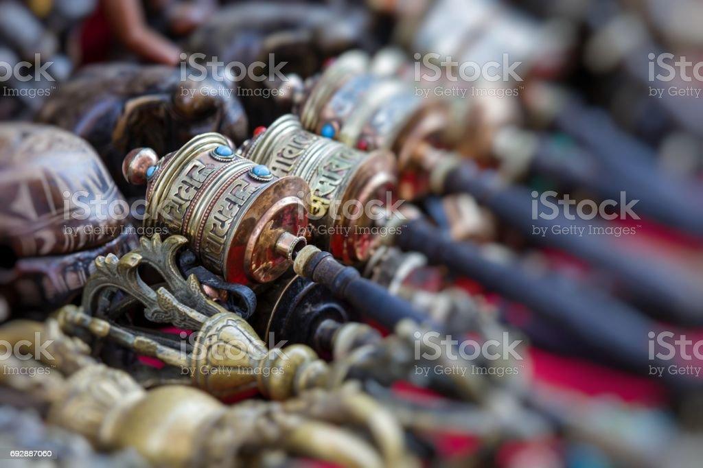Nepalese Prayer Wheels on Swayambhunath stupa in Kathmandu, Nepal stock photo