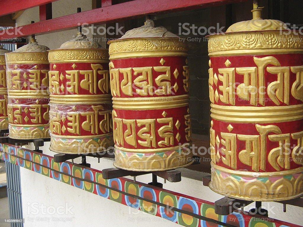Nepalese Prayer Wheels royalty-free stock photo