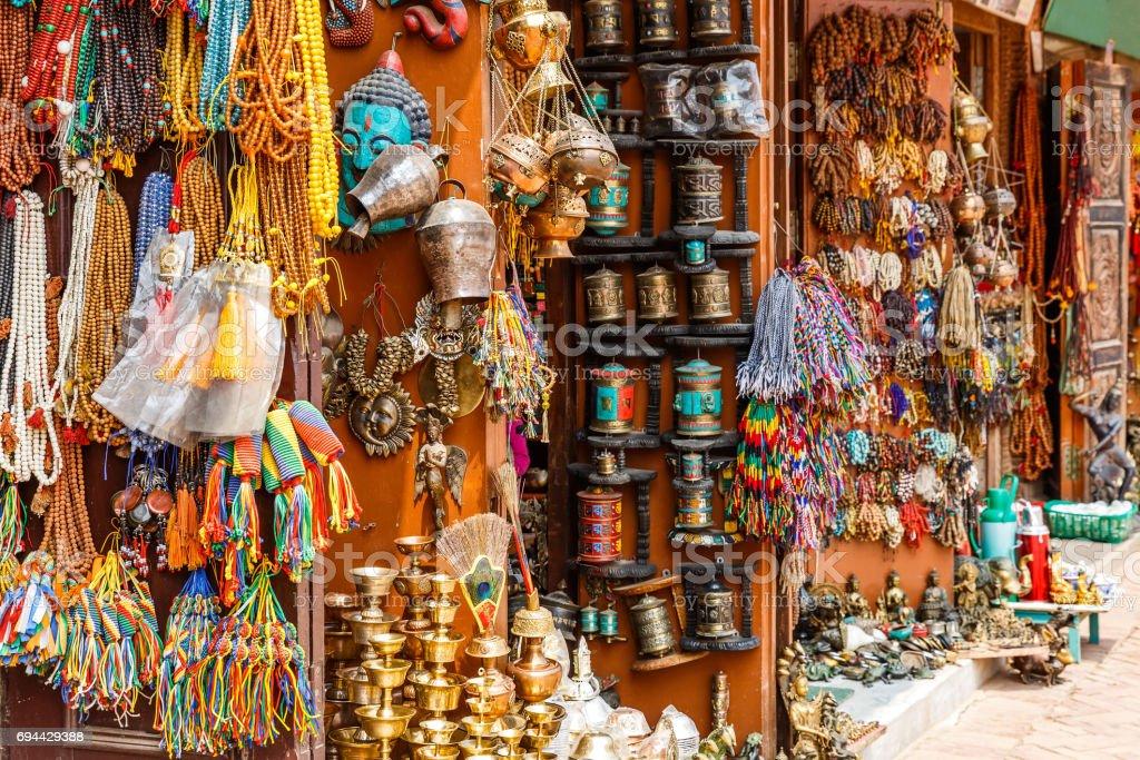 Nepalese souvenir shop stock photo