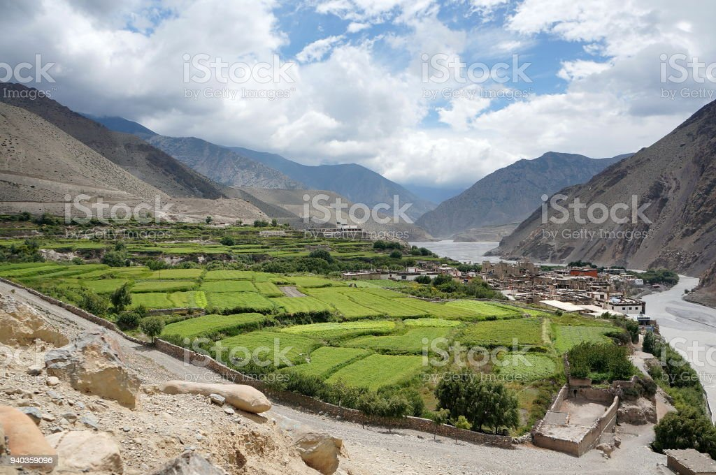 Nepalese village of Kagbeni, with orchards, is located in the valley of the Himalayas. stock photo