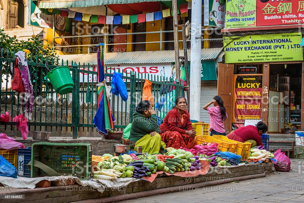 Nepalese women selling vegetables in Kathmandu, Nepal stock photo