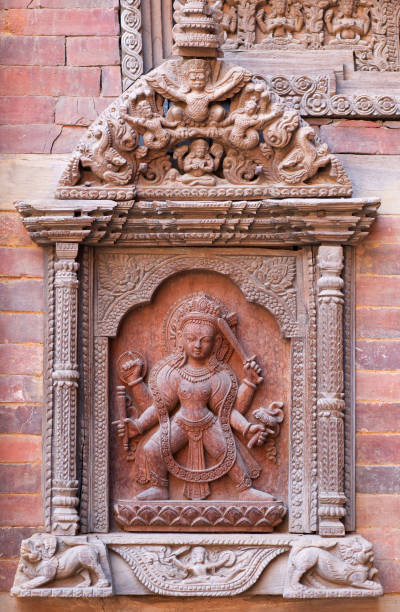 Nepalese wooden carving at the palace in Patan, Nepal stock photo