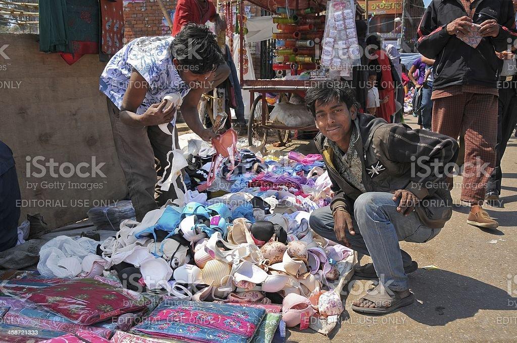 Nepali boys selling women underwear stock photo