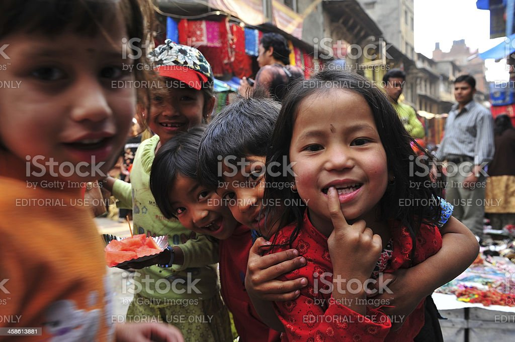 Nepali childdren stock photo