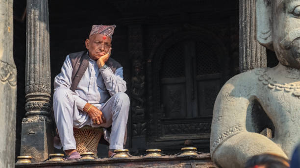 Nepali old man stock photo