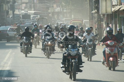 Kathmandu , Nepal : 28 September 2018 Nepali people travel by motorcycle on the road that traffic jam with air polution PM 2.5 in kathmandu,Nepal