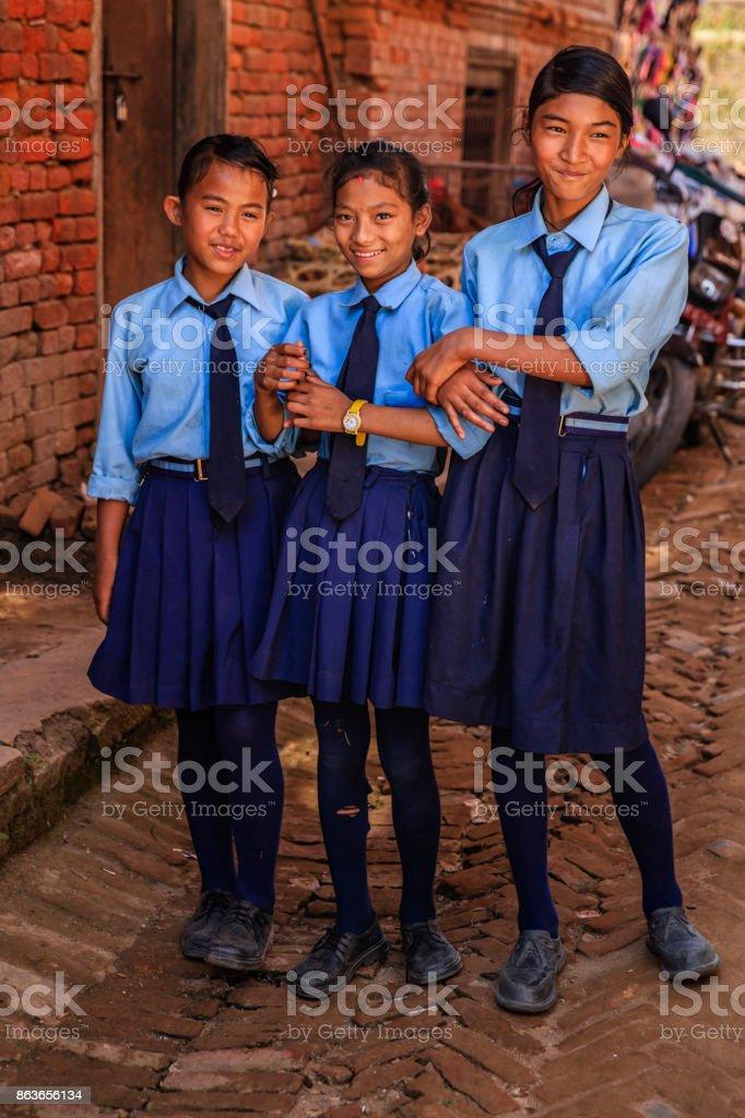 Nepali schoolgirls in Bhaktapur, Nepal stock photo