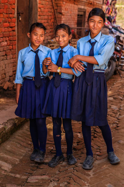 Nepali schoolgirls in Bhaktapur, Nepal stock photo
