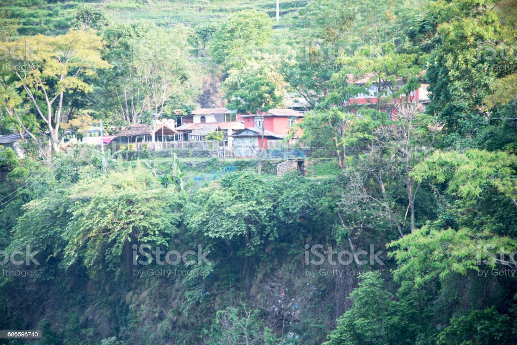Nepali village in the mountain royalty-free stock photo