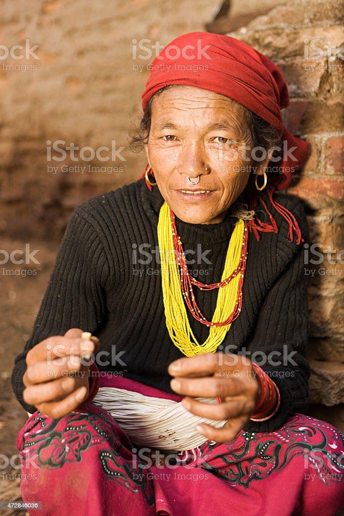 Nepali woman in Bhaktapur. stock photo