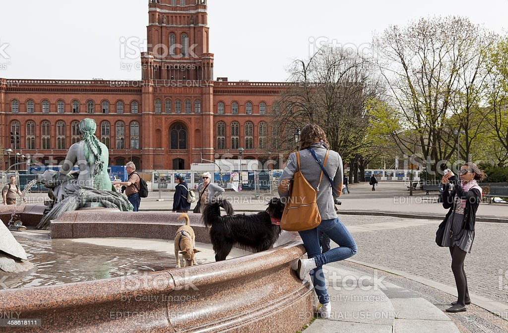 Neptun fountain and Berlin Town Hall, Germany royalty-free stock photo