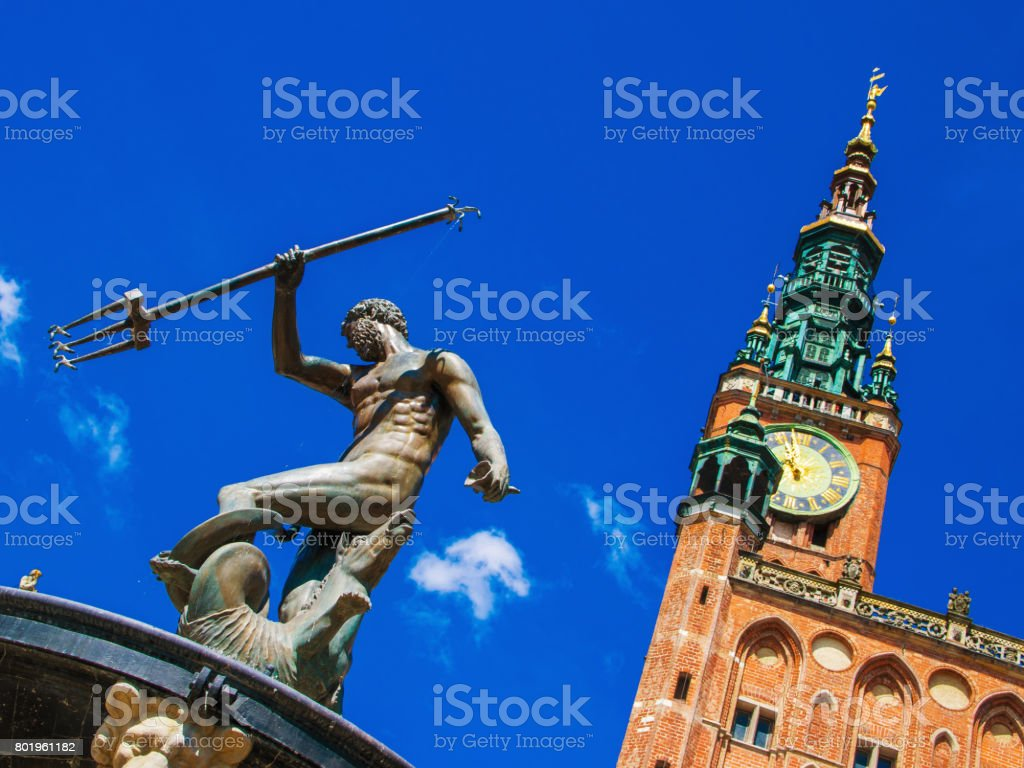 Neptune and town hall stock photo