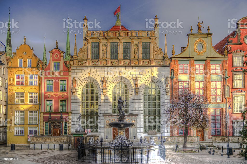 Neptune fountain and Artus Court in Gdansk stock photo