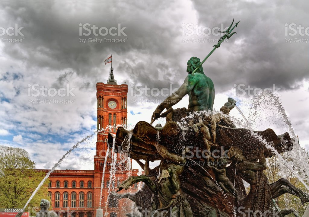 Neptune fountain and Rotes Rathaus, Berlin, Germany stock photo