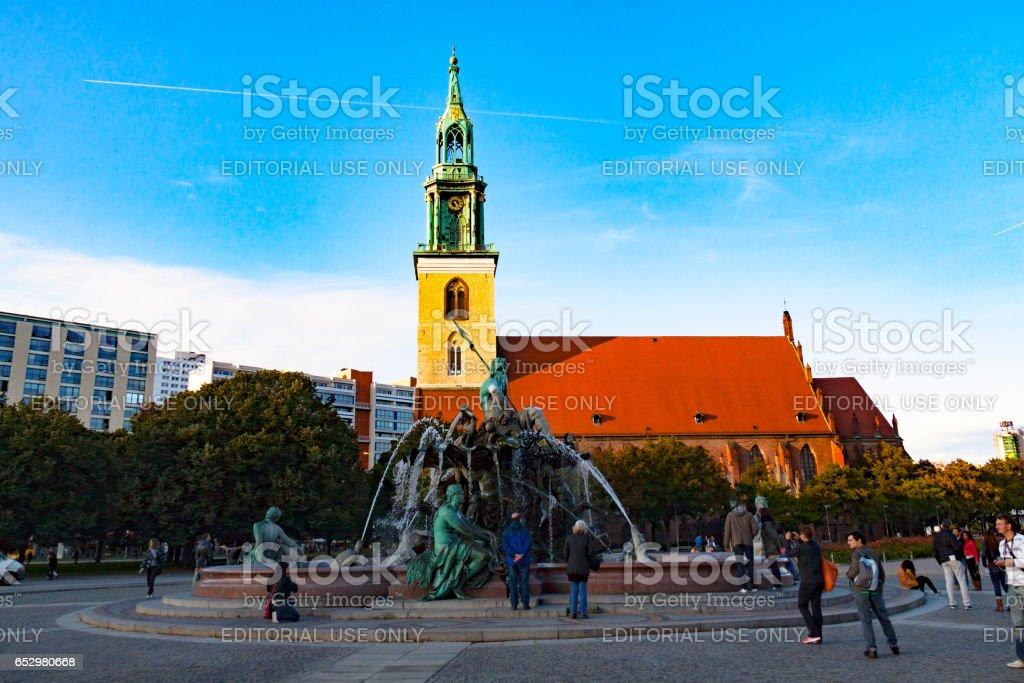 Neptune fountain in Berlin, Germany стоковое фото