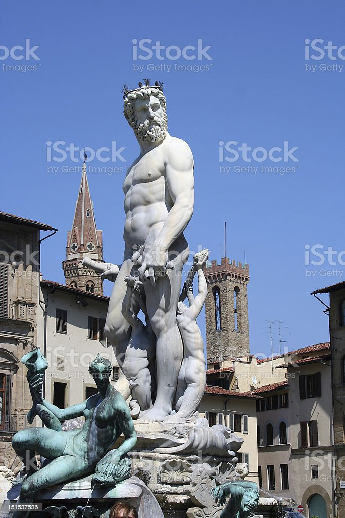 Neptune fountain in Florence stock photo
