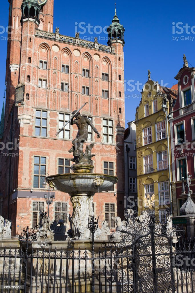 Neptune Fountain in Gdansk Old Town stock photo
