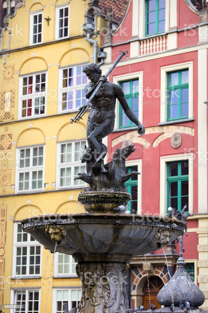 Neptune Fountain in Gdansk stock photo