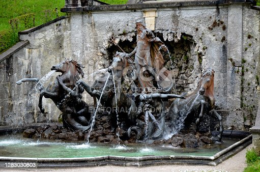 Ettal, Germany, May 11, 2013 - Neptune Fountain on the lower first floor in Park Linderhof. Castle Linderhof was one of the three castles built by King Ludwig II. of Bavaria