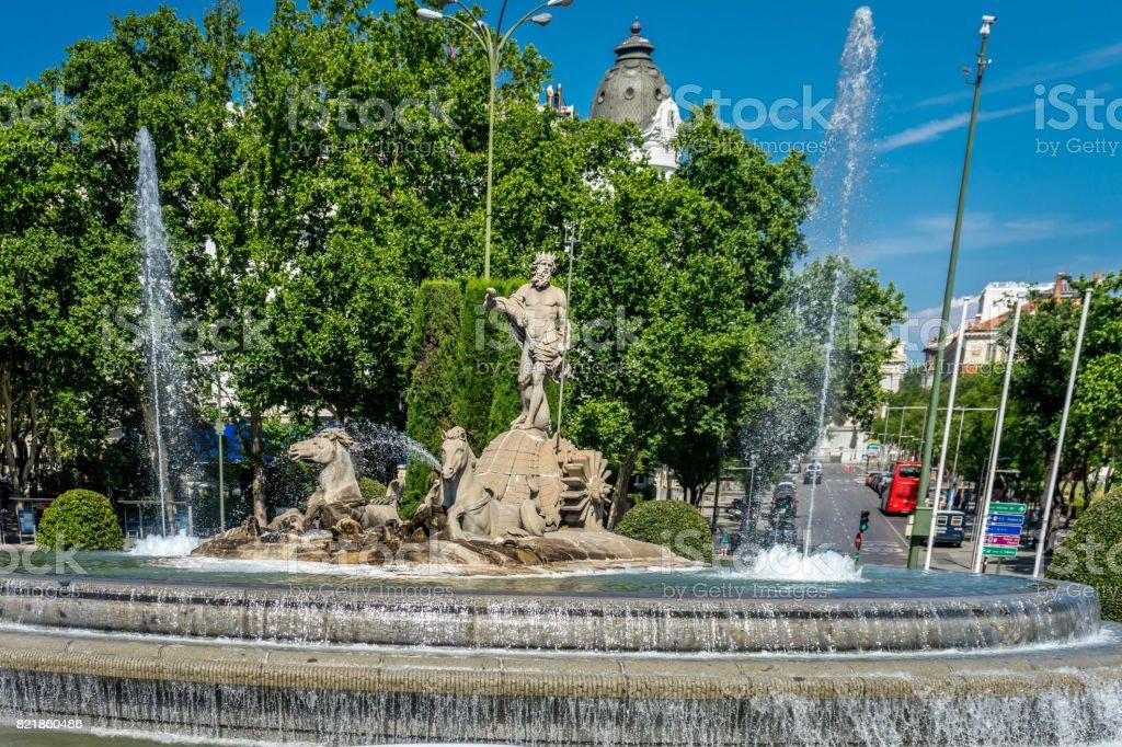 Fuente De Neptuno Madrid Espana Espanol Plaza Canovas Del Castillo