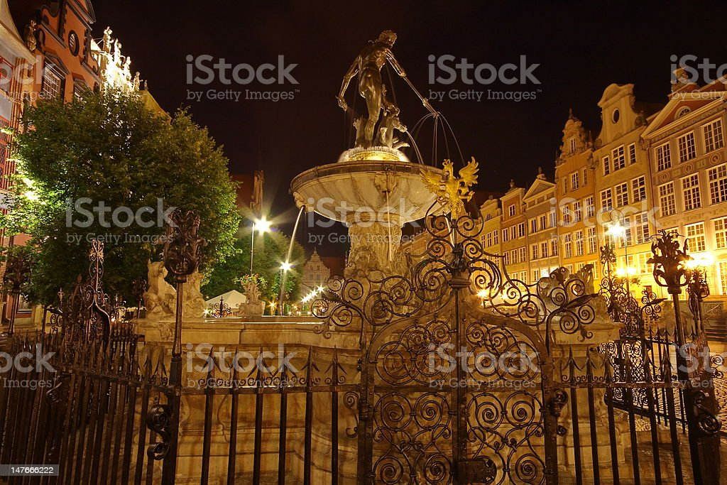 Neptune Monument on square in Gdansk, Poland royalty-free stock photo