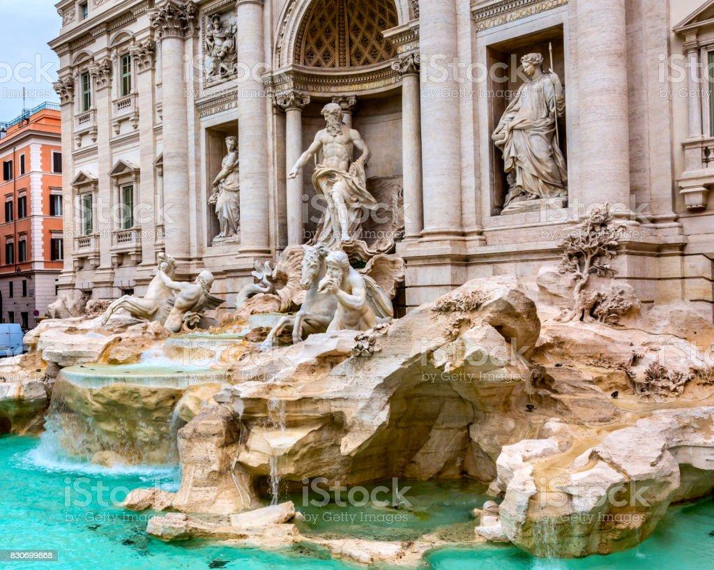 Neptune Nymphs Statues Trevi Fountain Rome Italy stock photo